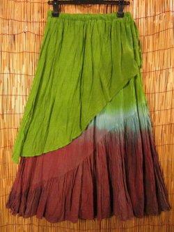 画像1: 手染めタイダイ★コットン素材★グラデーションカラー★二枚重ね★ロングスカート