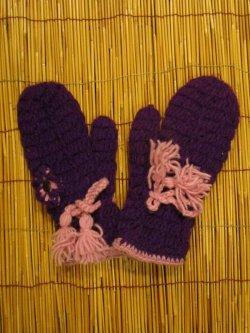 画像1: 暖かウール素材*裏地フリース*手編み*ミトングローブ*ミトン型手袋