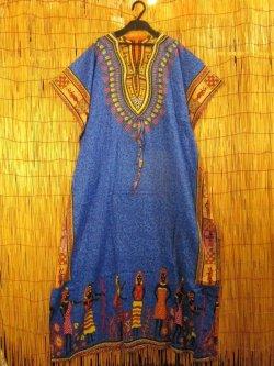画像1: 薄手ビスコース素材*ゆったりサイズ *アフリカの部族プリント*ガラベーヤ*ポンチョ風*マキシ丈ワンピース*ベリーダンス