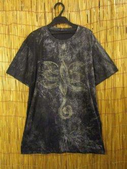 画像1: 柔らかコットン素材*ストーンウォッシュ*手描きロータス*半袖Tシャツ*L