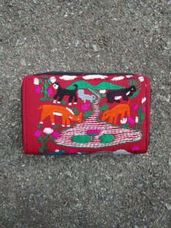 画像1: ラオス*モン族*手刺繍*ハンドステッチ*財布*動物*アニマル