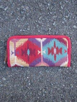 画像1: 織り柄*コットン素材*ラウンドファスナー*ウォレット*長財布