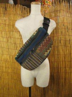 画像1: 2WAY*ストーンウォッシュコットン素材+織り柄*ボディバッグ