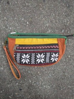 画像1: ストーンウォッシュ+織り柄コットン素材*マルチポーチ