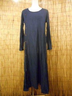 画像1: 薄手コットン素材*飾りココナッツボタン付き*長袖ロングワンピース