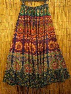 画像1: インド*コットン素材*アジアンプリント*フレアータイプ*ロングスカート